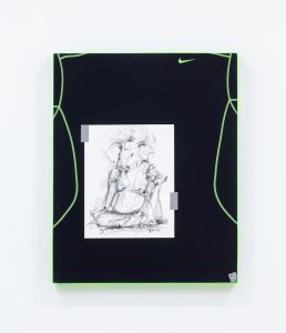 Christopher Kulendran Thomas, from the ongoing work When Platitudes Become Form, 2013. Wood, acrylic, 'Ganesh XII' by Prageeth Manohansa (purchased from Saskia Fernando Gallery, Colombo, Sri Lanka) and Nike Pro Combat compression shirt.