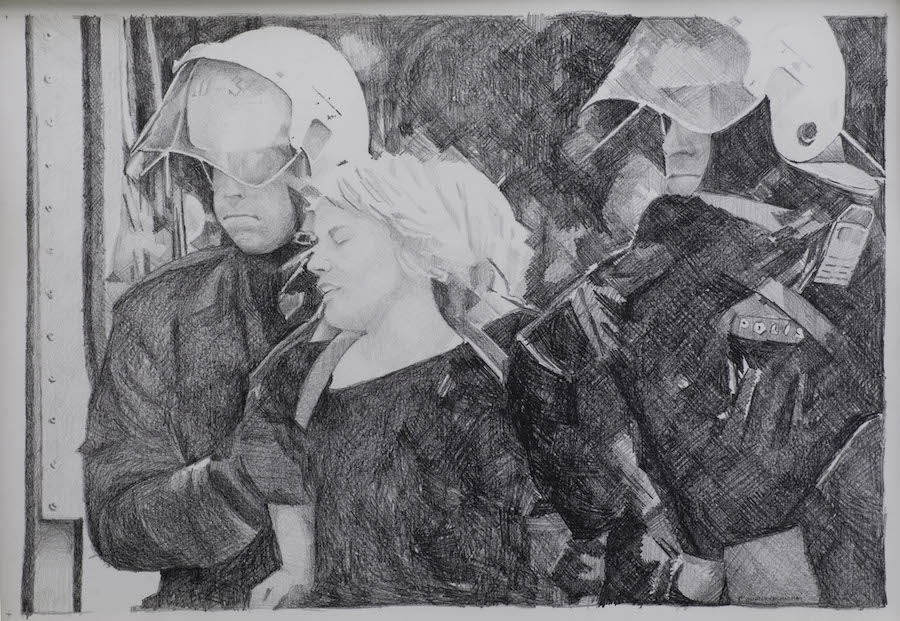 Rirkrit Tiravanija, Untitled (demonstration drawing n° 11), 2001. 89 X 55 cm. Courtesy Rirkrit Tiravanija ; Galerie Chantal Crousel. Photo : Florian Kleinefenn